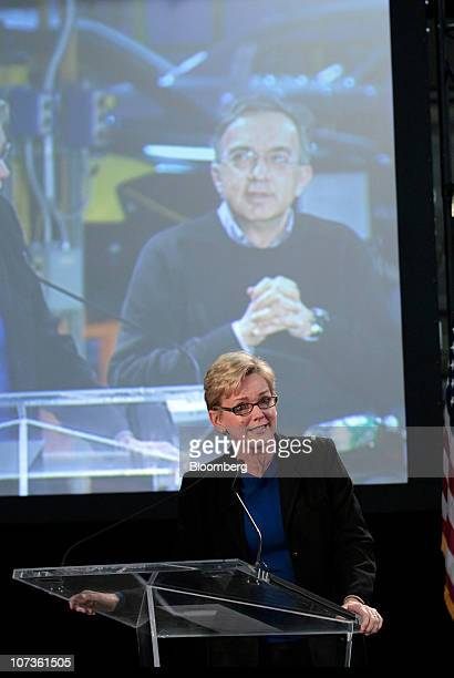 Jennifer Granholm governor of Michigan speaks during a press conference at a production plant in Sterling Heights Michigan US on Monday Dec 6 2010...
