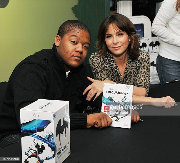 Jennifer Grey and Kyle Massey attend the launch of Disney's Epic Mickey at Disney Store on November 30 2010 in New York City