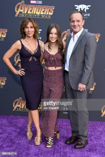 Jennifer Grey Stella Gregg and Clark Gregg attend the premiere of Disney and Marvel's 'Avengers Infinity War' on April 23 2018 in Los Angeles...