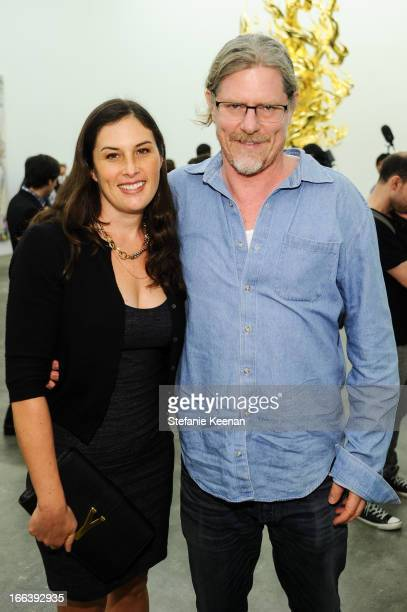 Jennifer Guidi and Mark Grotjahn attend Takashi Murakami Private Preview And Dinner At Blum Poe on April 11 2013 in Los Angeles California