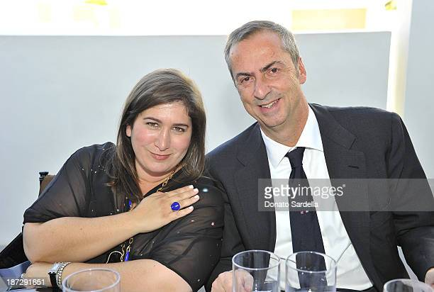 Jennifer Hale and Carlo Traglio CEO of Vhernier attends Vhernier luncheon hosted by Jennifer Hale from C Magazine at Gagosian Gallery on November 7...
