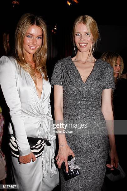 Jennifer Hawkins and Claudia Schiffer attend the Christian Dior Haute Couture Autumn Winter 2008 fashion show at the Musee Rodin on June 30 2008 in...