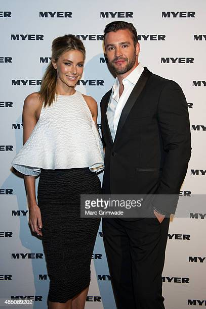 Jennifer Hawkins and Kris Smith arrive ahead of the Myer Spring/Summer 2015 Fashion Show at RNA Showgrounds on August 24 2015 in Brisbane Australia