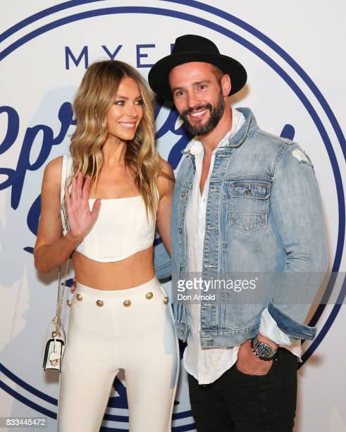 Jennifer Hawkins and Kris Smith attend the Myer 'Spring Social' Night Event at Bronte Surf Life Club on August 17 2017 in Sydney Australia
