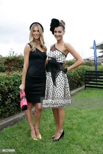 Jennifer Hawkins and Laura Dundovic attend Golden Slipper Day at the Rosehill Gardens on April 3 2010 in Sydney Australia