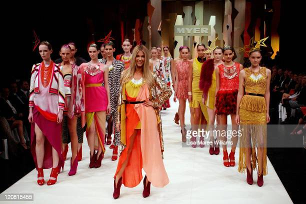 Jennifer Hawkins and models showcase designs on the catwalk at the Myer Spring/Summer 2011 fashion launch at the Carriage Works on August 11 2011 in...