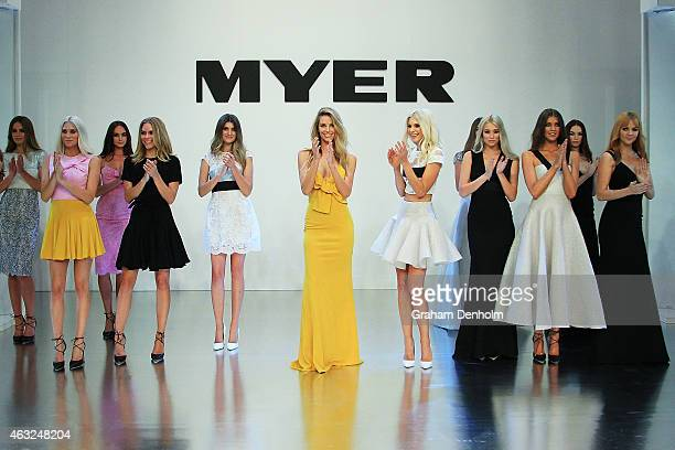 Jennifer Hawkins and models walk the finale during the Myer A/W 2015 Season Launch at Myer Mural Hall on February 12 2015 in Melbourne Australia