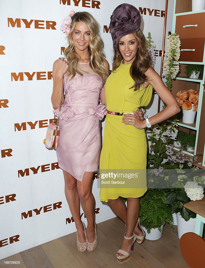 Jennifer Hawkins and Rebecca Judd attend the Myer marquee on Crown Oaks Day at Flemington Racecourse on November 8, 2012 in Melbourne, Australia.