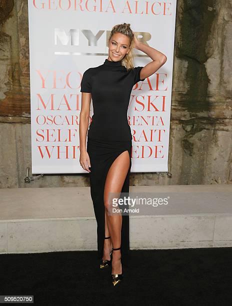 Jennifer Hawkins arrives ahead of the Myer AW16 Fashion Launch at Barangaroo Reserve on February 11 2016 in Sydney Australia