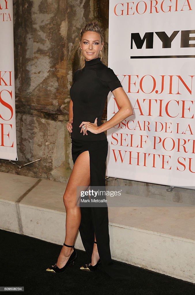 Jennifer Hawkins arrives ahead of the Myer AW16 Fashion Launch on February 11, 2016 in Sydney, Australia.