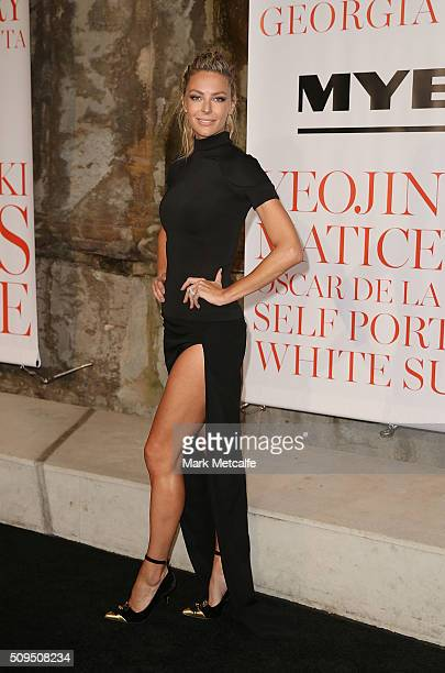 Jennifer Hawkins arrives ahead of the Myer AW16 Fashion Launch on February 11 2016 in Sydney Australia