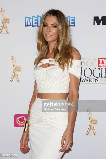 Jennifer Hawkins arrives at the 2014 Logie Awards at Crown Palladium on April 27 2014 in Melbourne Australia