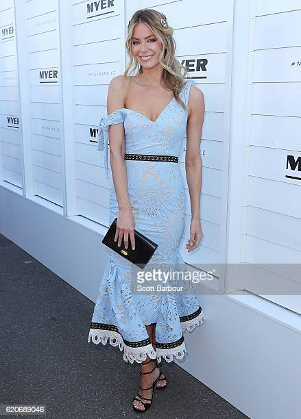 Jennifer Hawkins arrives at the Myer on Oaks Day at Flemington Racecourse on November 3 2016 in Melbourne Australia
