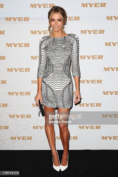 Jennifer Hawkins arrives at the Myer Spring/Summer 2014 Collections Launch at Fox Studios on August 8 2013 in Sydney Australia