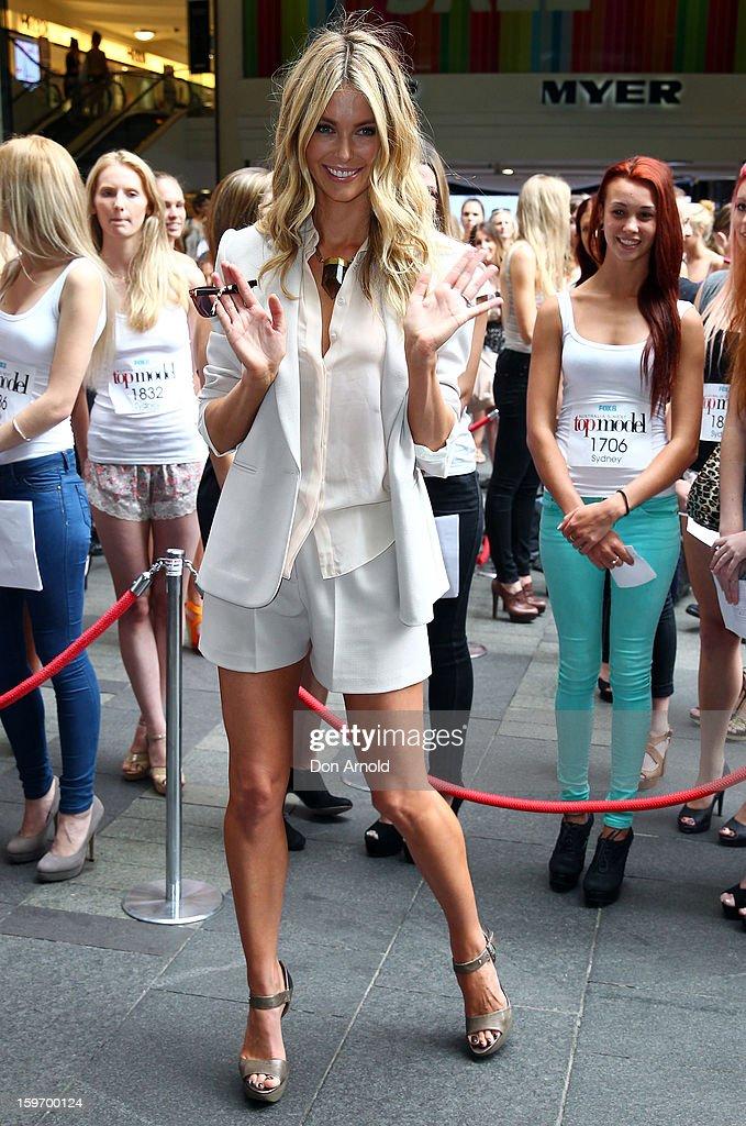 Jennifer Hawkins arrives at the Sydney audition for Season 8 of Australia's Next Top Model on January 19, 2013 in Sydney, Australia.