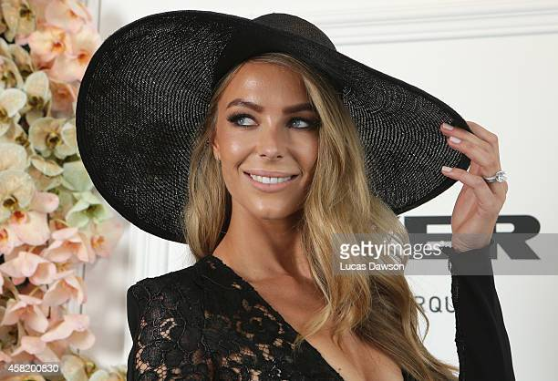 Jennifer Hawkins at the Myer Marquee on Derby Day at Flemington Racecourse on November 1 2014 in Melbourne Australia
