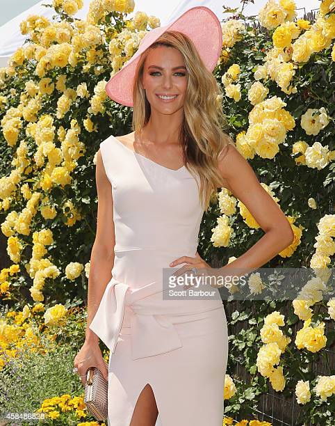 Jennifer Hawkins at the Myer Marquee on Oaks Day at Flemington Racecourse on November 6 2014 in Melbourne Australia