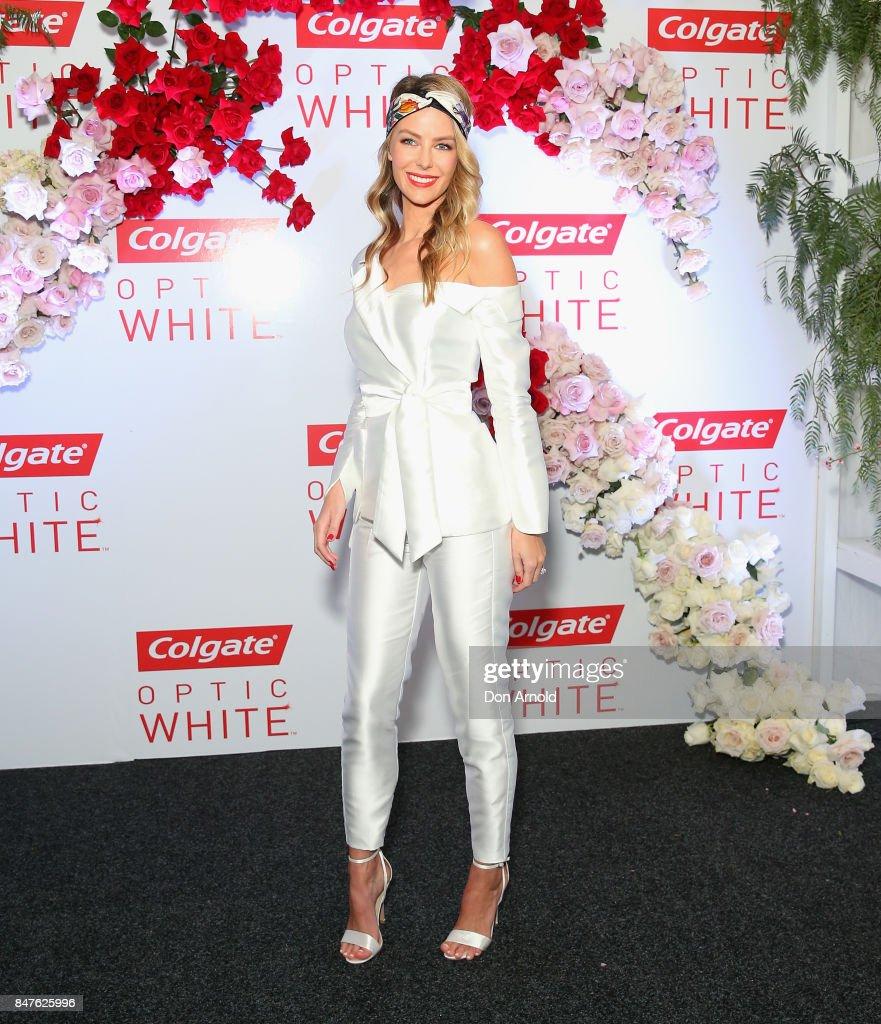 Jennifer Hawkins attends Colgate Optic White Stakes Day at Royal Randwick Racecourse on September 16, 2017 in Sydney, Australia.