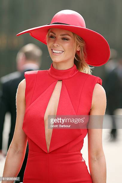 Jennifer Hawkins attends Melbourne Cup Day at Flemington Racecourse on November 1 2016 in Melbourne Australia