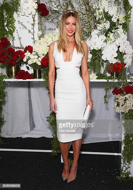 Jennifer Hawkins attends Stakes Day at Royal Randwick Racecourse on September 17 2016 in Sydney Australia