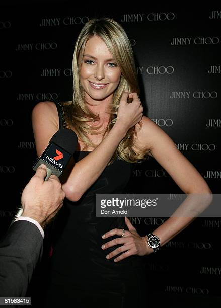 Jennifer Hawkins attends the launch of the new Jimmy Choo stand alone boutique at Castlereagh Street on April 30 2008 in Sydney Australia The opening...