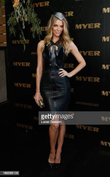 Jennifer Hawkins attends the Myer marquee on Victoria Derby Day at Flemington Racecourse on November 2 2013 in Melbourne Australia