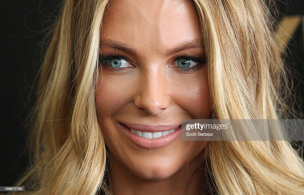 Jennifer Hawkins attends the Myer marquee on Victoria Derby Day at Flemington Racecourse on November 2, 2013 in Melbourne, Australia.