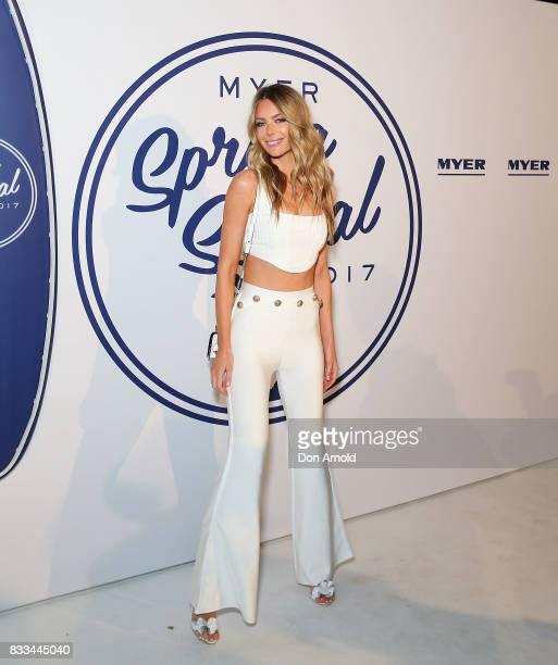 Jennifer Hawkins attends the Myer 'Spring Social' Night Event at Bronte Surf Life Club on August 17 2017 in Sydney Australia