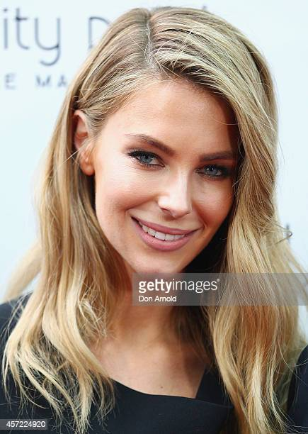 Jennifer Hawkins poses as brand ambassador for the launch of Trinity Point at Cafe Sydney on October 15 2014 in Sydney Australia