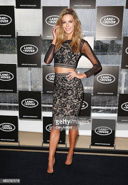 Jennifer Hawkins poses at a launch for the Land Rover Discovery Sport at the Royal Botanical Gardens on December 11 2014 in Sydney Australia