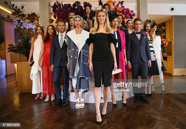 Jennifer Hawkins poses at the Myer Autumn 2016 Racing Launch at Silvereye Restaurant on March 15 2016 in Sydney Australia