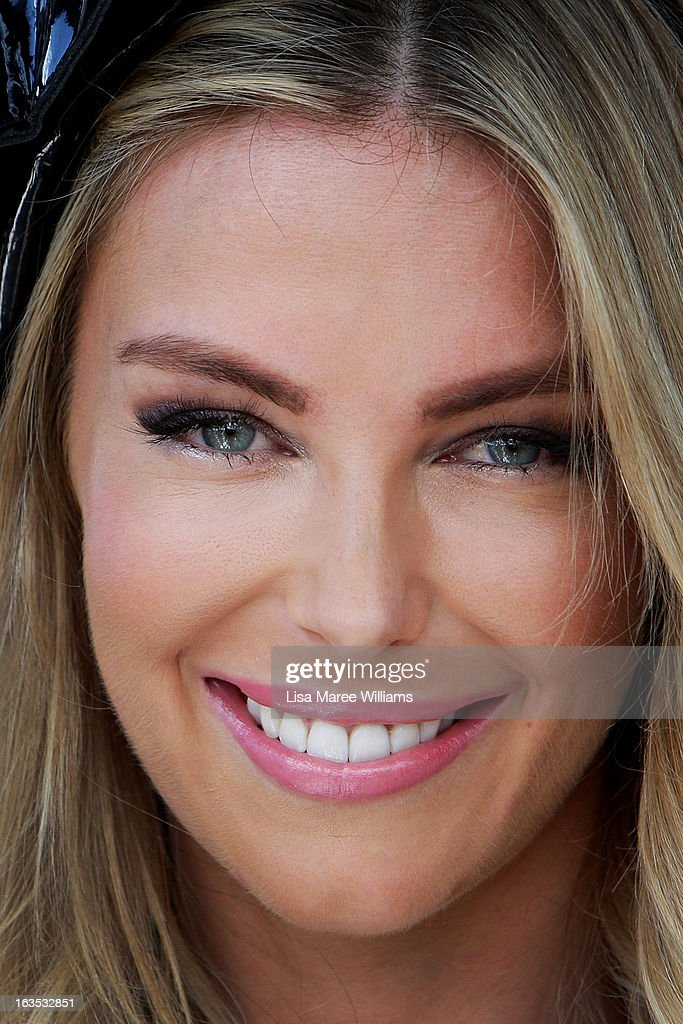 Jennifer Hawkins poses at the Myer Autumn/Winter Collection preview at The Bar at the End of the Wharf on March 12, 2013 in Sydney, Australia.