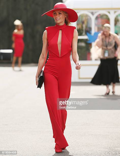Jennifer Hawkins poses at the Myer Marquee on Melbourne Cup Day at Flemington Racecourse on November 1 2016 in Melbourne Australia