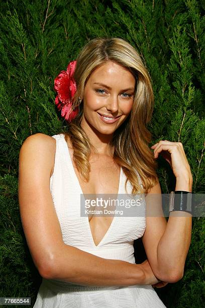 Jennifer Hawkins poses at the Myer Marquee on the first day of the Melbourne Cup Carnival Derby Day at Flemington Race Course on November 3 2007 in...