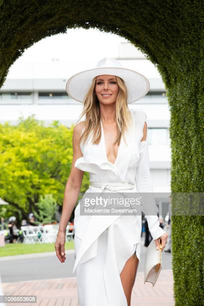 Jennifer Hawkins poses at The Park on Derby Day at Flemington Racecourse on November 3 2018 in Melbourne Australia