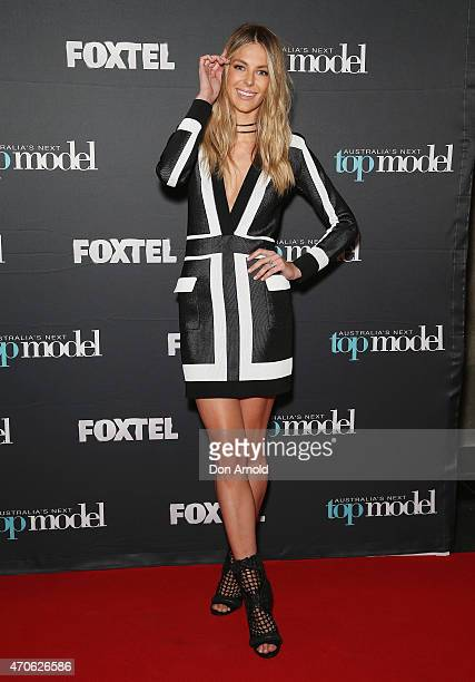 Jennifer Hawkins poses at the premiere screening of Australia's Next Top Model at Hoyts Entertainment Quarter Moore Park on April 22 2015 in Sydney...