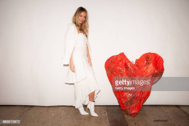 Jennifer Hawkins poses backstage ahead of the Sass Bide show at MercedesBenz Fashion Week Resort 18 Collections at Bay 2224 Carriageworks on May 15...