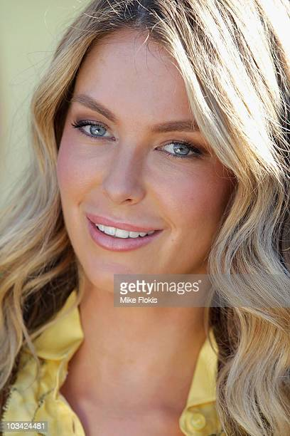 Jennifer Hawkins poses during a Loveable intimates collection promotional launch at Bondi Beach on August 18 2010 in Sydney Australia