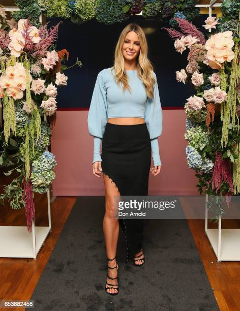 Jennifer Hawkins poses during the Myer Fashion Runway show on March 16 2017 in Sydney Australia