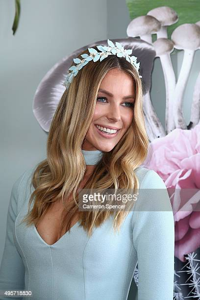 Jennifer Hawkins poses in the Myer Marquee at the Birdcage on Oaks Day at Flemington Racecourse on November 5 2015 in Melbourne Australia