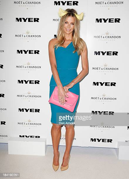 Jennifer Hawkins poses inside the Moet and Chandon Marquee during Moet and Chandon Spring Champion Stakes Day at Royal Randwick on October 12 2013 in...