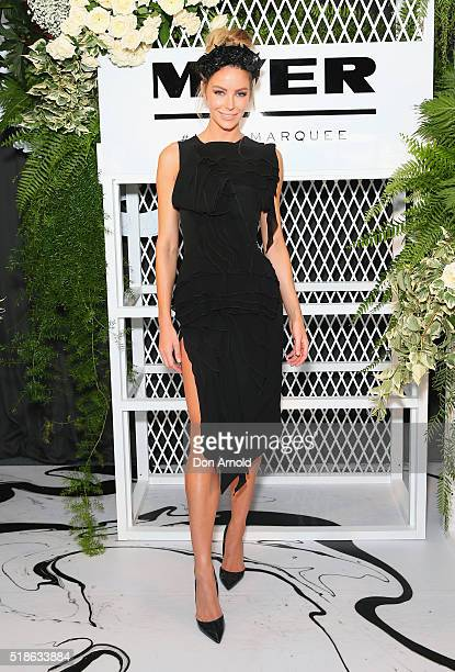 Jennifer Hawkins poses inside the Myer Marquee during The Championships Day 1 at Royal Randwick Racecourse on April 2 2016 in Sydney Australia