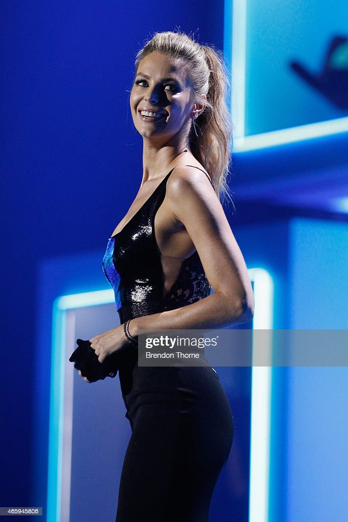 Jennifer Hawkins presents on stage during the 2015 ASTRA Awards at The Star on March 12, 2015 in Sydney, Australia.