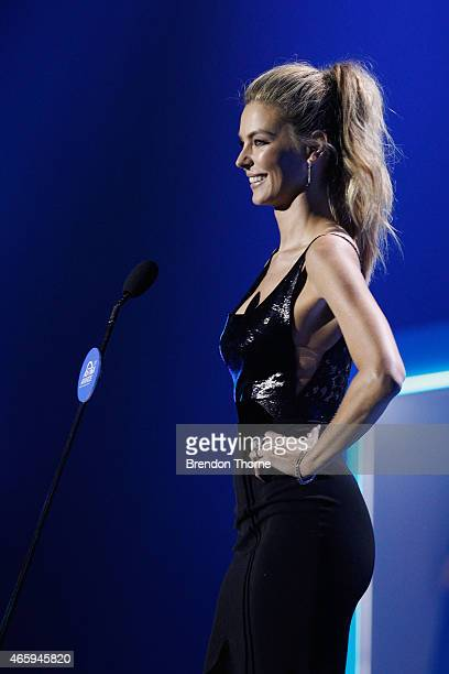 Jennifer Hawkins presents on stage during the 2015 ASTRA Awards at The Star on March 12 2015 in Sydney Australia