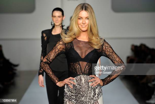 Jennifer Hawkins showcases a design by Manning Cartell on the catwalk during the 'Myer Spring/Summer Fashion Launch' catwalk show as part of...