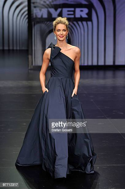 Jennifer Hawkins showcases a design by Toni Maticevski on the catwalk at the Myer Autumn Winter 2010 Collection Launch at Sidney Myer Music Bowl on...