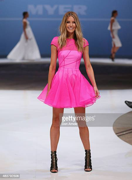 Jennifer Hawkins showcases designs by Alex Perry during the Myer Spring 2015 Fashion Launch on August 13 2015 in Sydney Australia