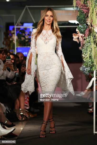 Jennifer Hawkins showcases designs by Alex Perry during the Myer Fashion Runway show on March 16 2017 in Sydney Australia