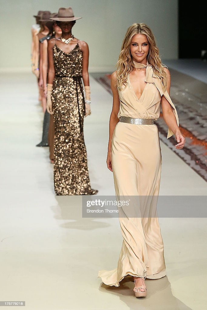 Jennifer Hawkins showcases designs by Aurelio Costarella at the Myer Spring/Summer 2014 Collections Launch at Fox Studios on August 8, 2013 in Sydney, Australia.