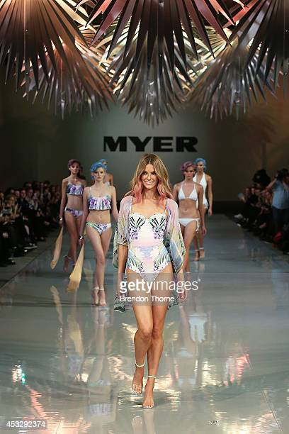 Jennifer Hawkins showcases designs by Cozi by Jennifer Hawkins during the Myer Spring Summer 2014 Fashion Launch at Carriageworks on August 7 2014 in...